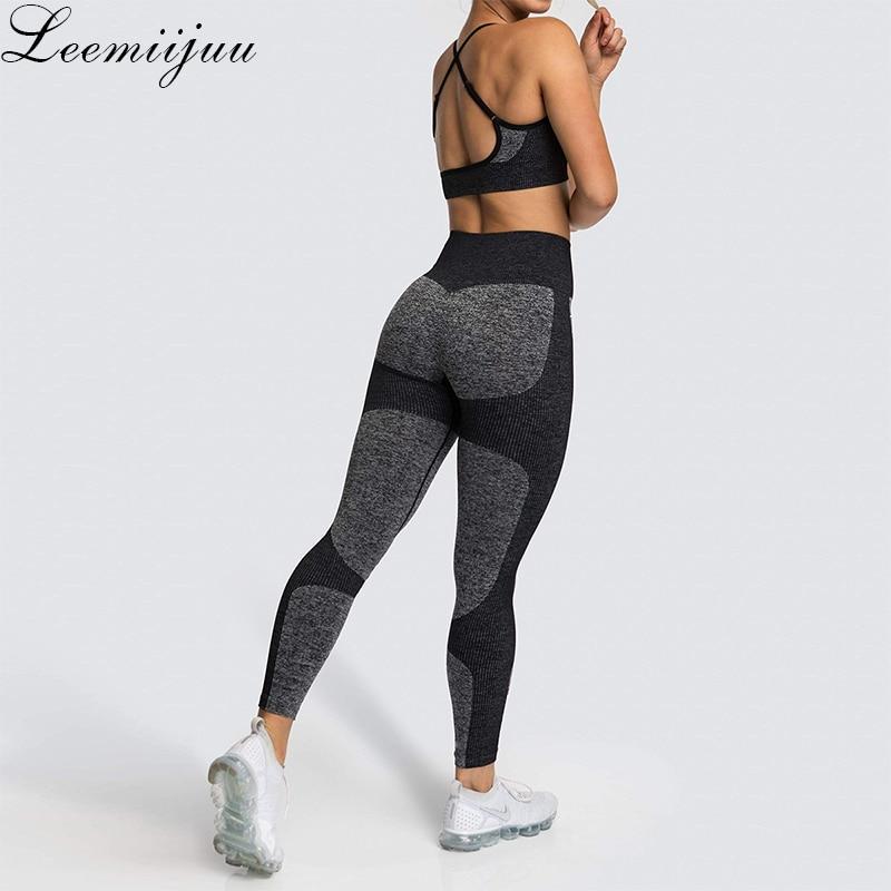LEEMIIJUU Sports Suits Women Seamless Yoga Sets Running Fitness Gym Pants High Waist Straps Sport Leggings High Elasticity Bra
