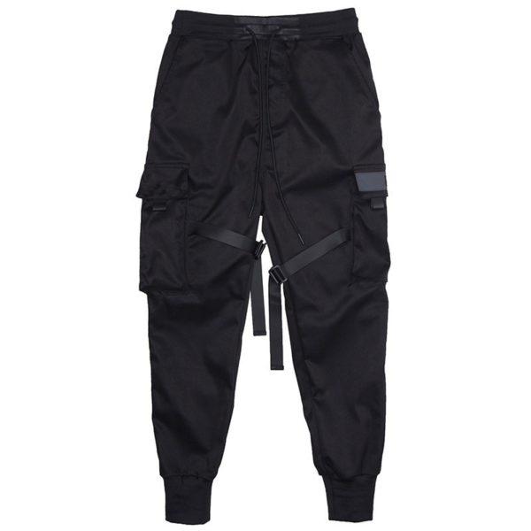 Block Black Pocket Cargo Pants Harem Joggers Hip Hop Trousers