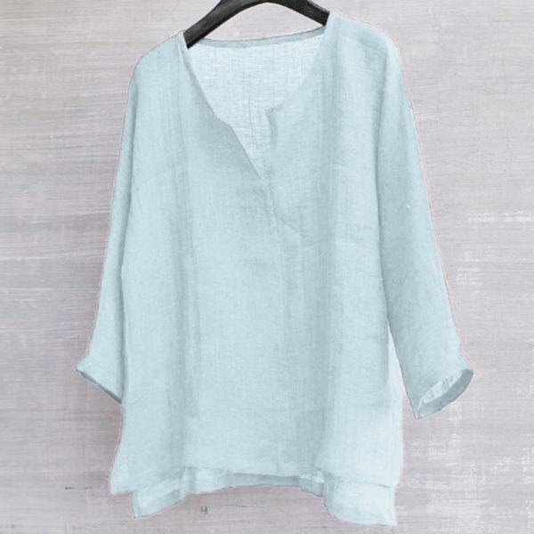 Vintage Cotton Linen Shirt Men Casual Long Sleeve Oversize Tops Camisa V Neck Boho Style