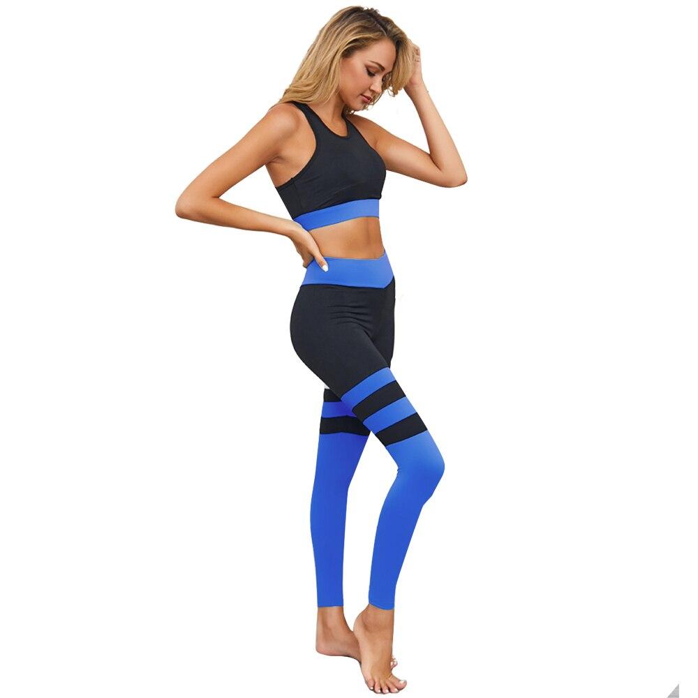 Yoga Sets Women Gym Clothes 2 Piece Sports Bra High Waist Fitness Leggings Set Nylon Striped Sportswear Femme Workout Clothing