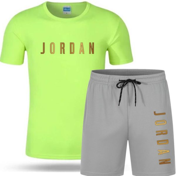 Hot Letter Printed T-shirt sports couple quick dry casual running 2-piece set