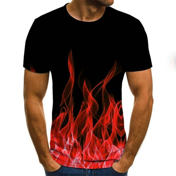 Flame T-shirt Short-sleeved round neck tops smoke element