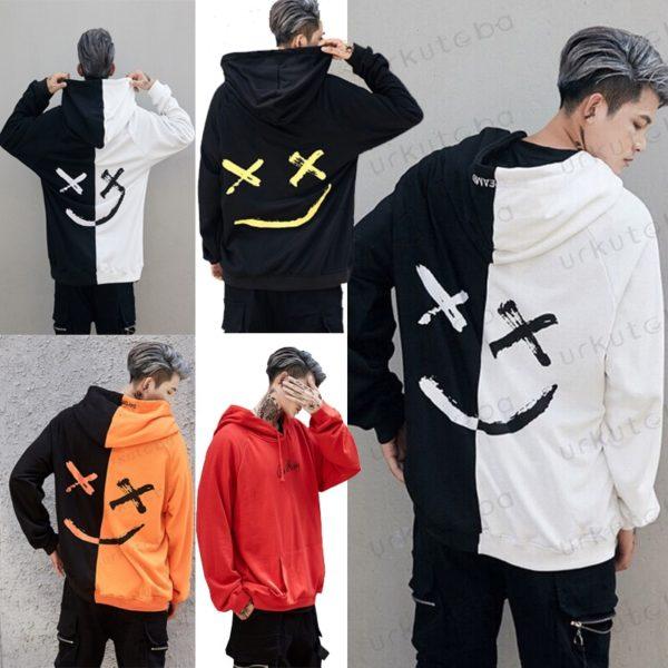 Pullover Hooded Sweatshirt Casual Flame Warm Smile Print Head wear Hip Hop