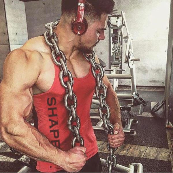 Solid Gym Men Stringer Tank Top Bodybuilding Fitness Singlets Muscle Vest Tee