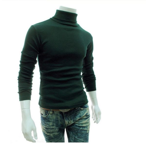 Autumn Winter Men's Sweater Turtleneck Solid Color Casual Sweater Slim Fit Brand Knitted Pullovers