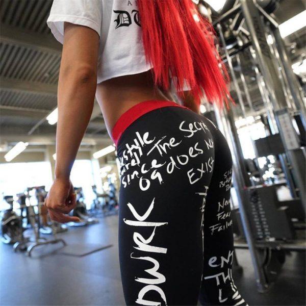 2019 New Fashion Letter Print Leggings Women Slim Fitness High Waist Elastic Workout Leggings for Gym Sport Running Europe Size