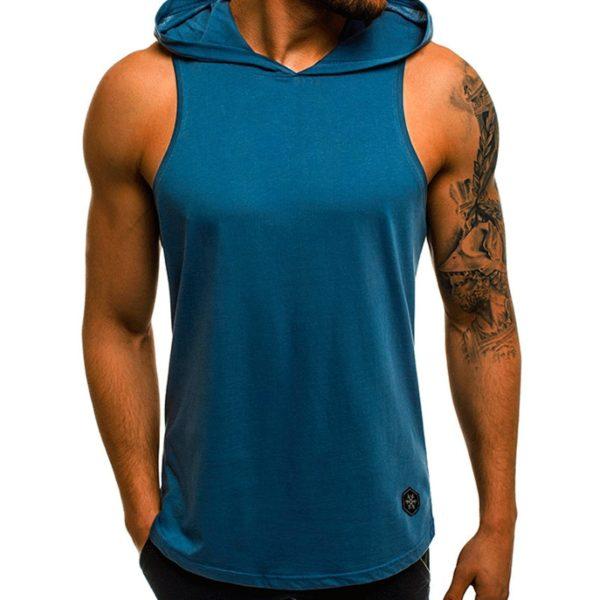 Men Hoodies Tank Top Sleeveless Muscle Gym Slim Vest Bodybuilding Hooded Tank Top