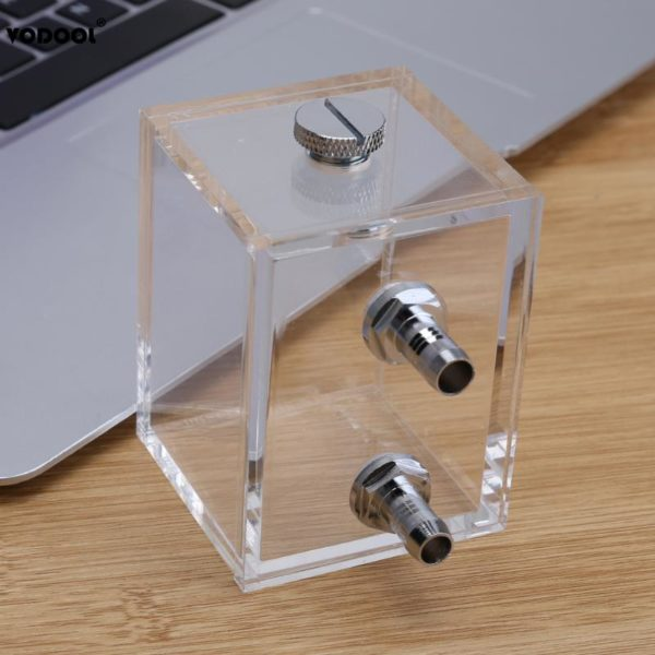 PC Water Cooling Tank With Tube Connector 200ml G1/4 Thread Port Acrylic
