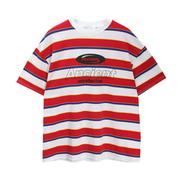 Short Sleeve T-Shirt Striped Contrast Trendy Summer Street Hip Hop Loose Retro Couple Tops Personality Cotton Half Sleeve