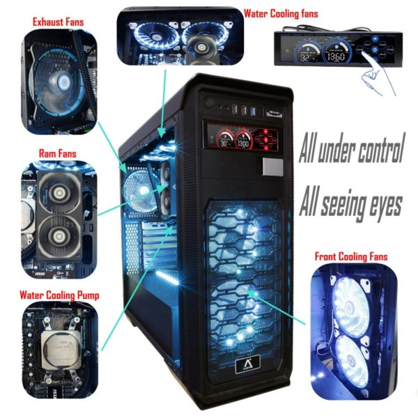 PC Fan Controller Panel LCD Touch Screen To Adjust 6 Channels Water Cooling Fans a-100L(R)