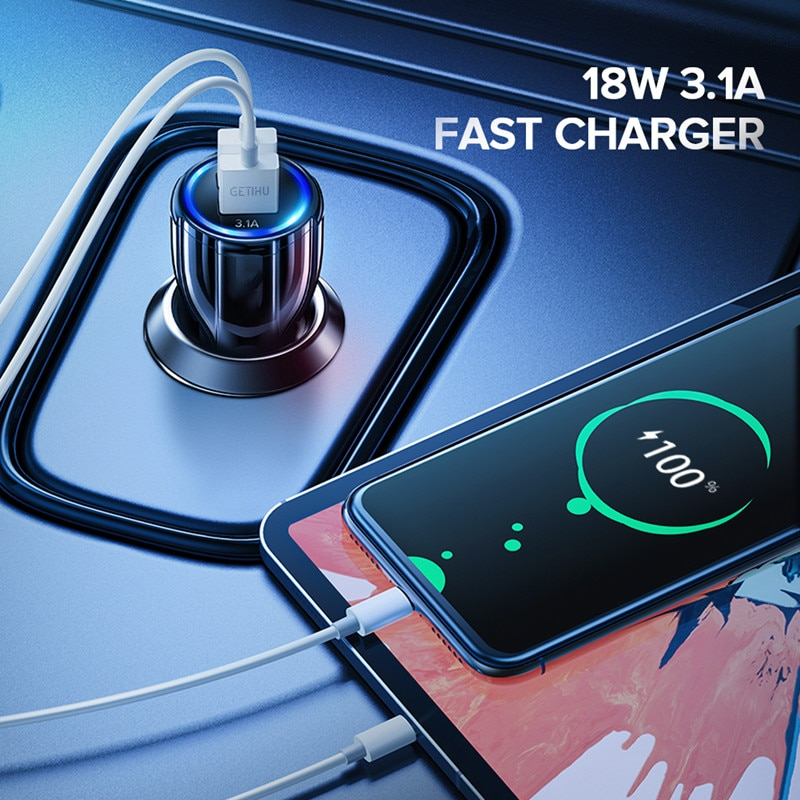 GETIHU 18W 3.1A Car Charger Dual USB Fast Charging QC Phone Charger Adapter For iPhone 11 Pro Max 6 7 8 Plus Xiaomi Redmi Huawei