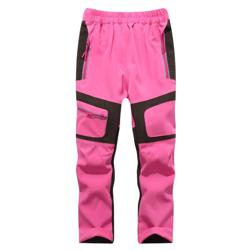 Fashion Brand Waterproof Boy Girl kids Pants Warm Trousers Sporty Climbing leggings Children Patchwork Soft Shell Outfits autumn