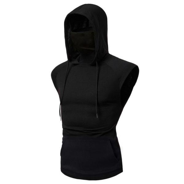 Hooded Mask Tank Tops Hoodie Sleeveless Tops