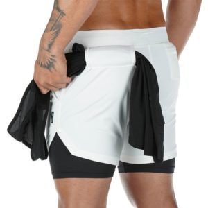Double layer Jogger Shorts 2 in 1 Short Pants Gyms Fitness Built-in pocket Bermuda Quick Dry Beach Shorts