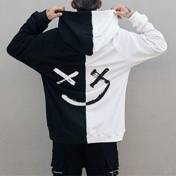 Men Hoodies Sweatshirts Happy Smiling Face Print Headwear Patchwork Pullover