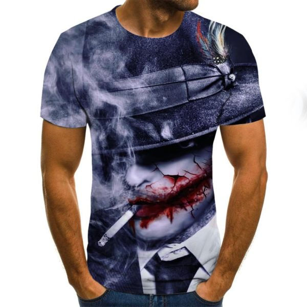 Mens T-shirt Summer Short Sleeve Full Printed