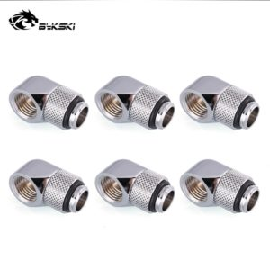 Water Cooling Compression Fittings 6pcs/lot G1/4'' 90 Degree Rotary Adaptors Metal Connector