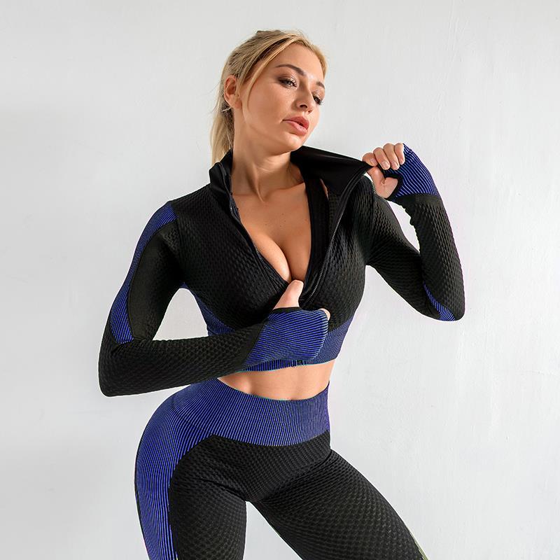 Women Yoga Set Running Seamless Gym Clothing Fitness Leggings + Crop Top Sportswear High Waist Fitness Legging Workout Yoga Suit